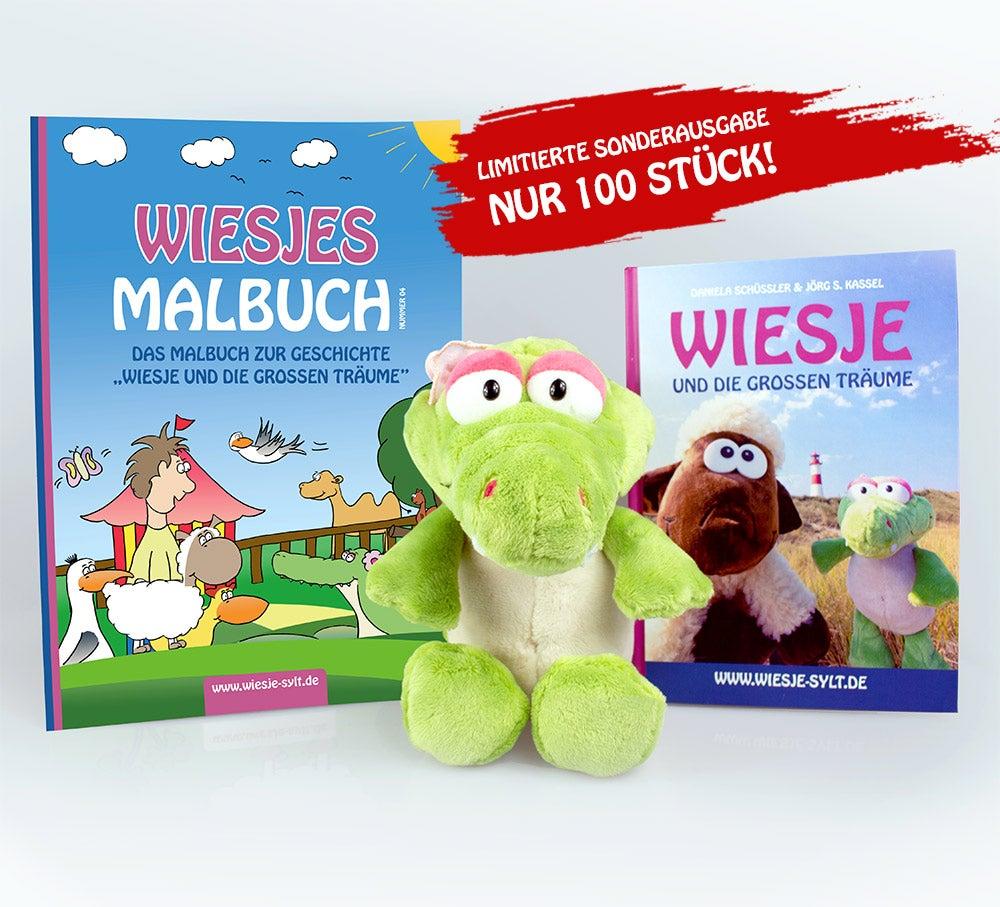 Wiesje und die großen Träume + Malbuch + Plüsch-Krokodil