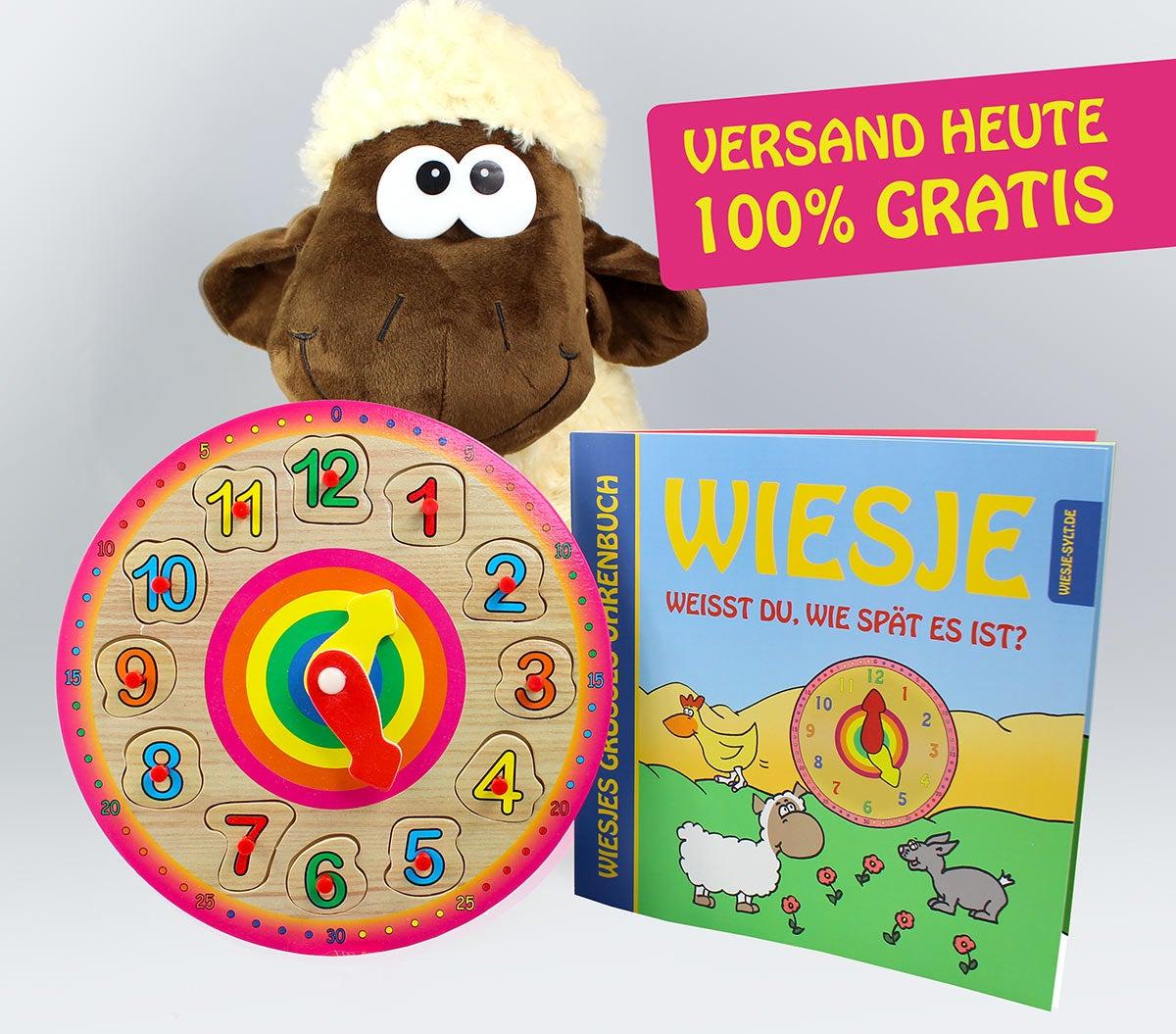 Wiesjes großes Uhrbuch + Puzzle-Uhr + Plüsch-Schaf Wiesje