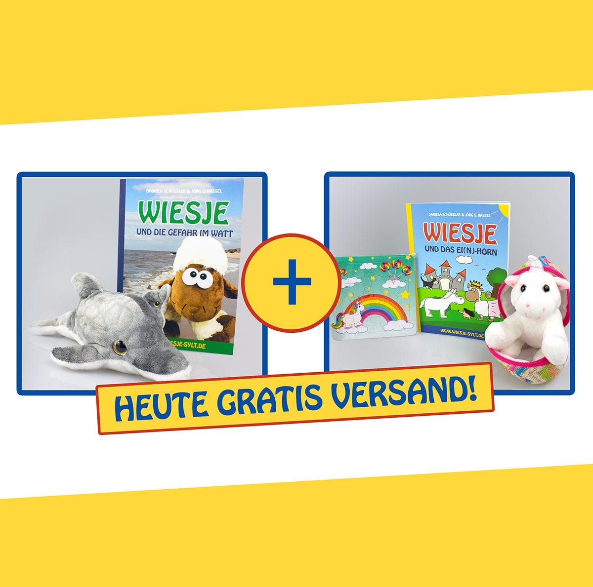 Komplettpaket: Wiesje und die Gefahr im Watt + Wiesje und das Ei(n)-Horn + 2 Stofftiere