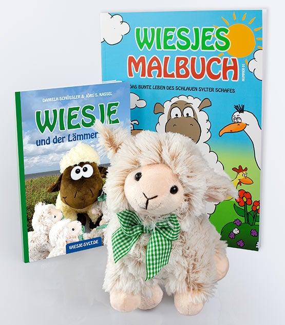 """Sylter Kinderbuch """"Wiesje und der Lämmergarten"""" + Malbuch + Plüsch-Lamm"""