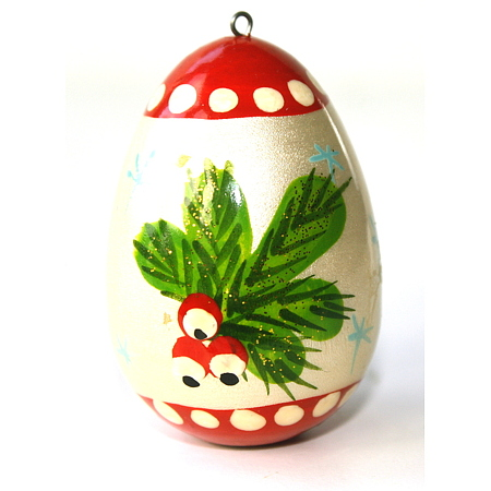 Xmas figurine - Wooden small egg with holly