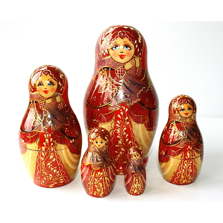 A 10 Nested set of Artist Matryoshka - hands holding scarf at neck - gold detail - pink tones