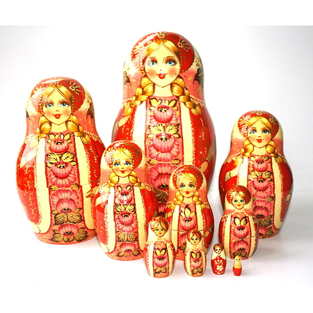 A 10 Nested set of Artists Matryoshka  - Red with white & pink scarf and panel with pink flowers