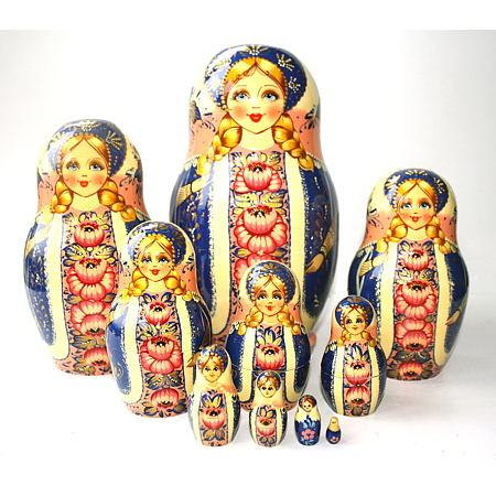 A 10 Nested set of Artists Matryoshka - blue with white & pink scarf and panel with pink flowers