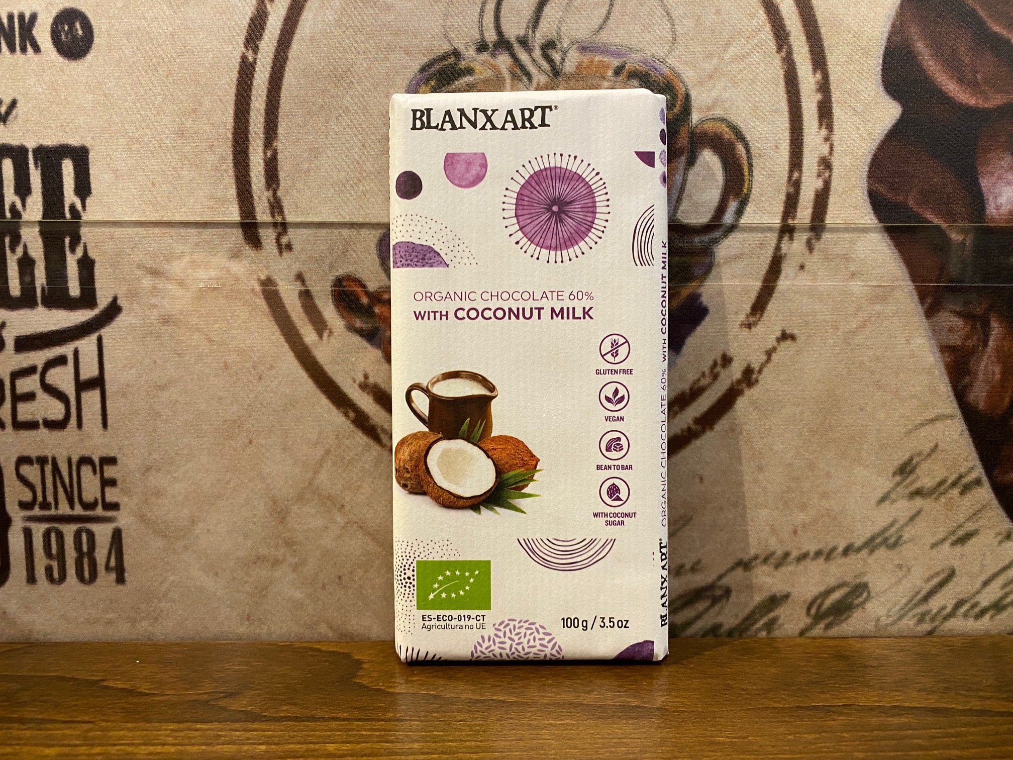 BLANXART Organic Chocolate 60 % with Coconut Milk