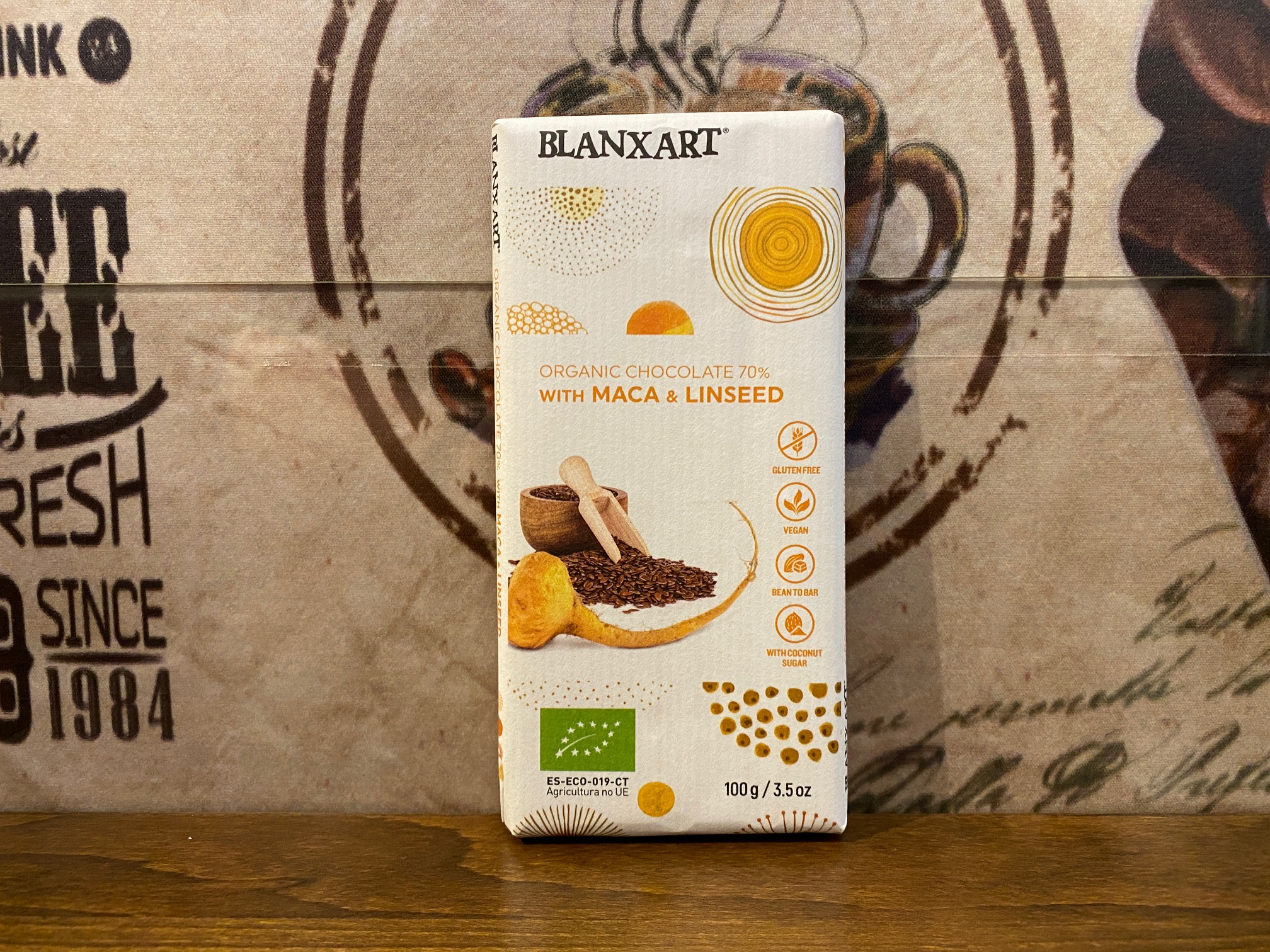 BLANXART Organic chocolate 70 % with Maca & Linseed