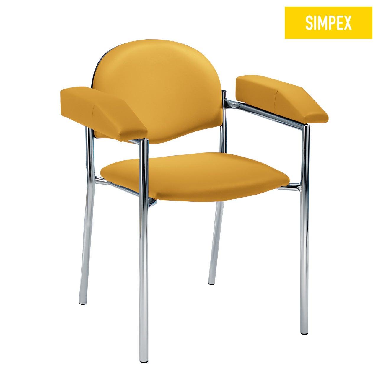 Blutentnahmestuhl Stuhl HAEMO-LINEA Cuneo mit Kunstleder in gelb (mais) und einem Gestell aus Stahl verchromt von SIMPEX