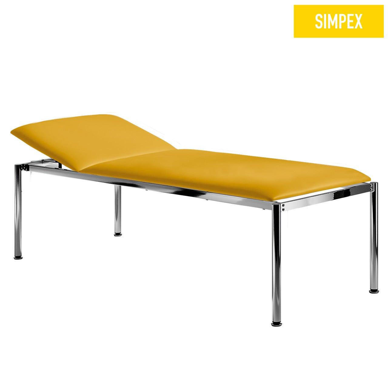 EKG-Designerliege RONDO-MED 80 Classic XL mit Kunstleder in gelb (mais) und einem Gestell aus Stahl verchromt von SIMPEX