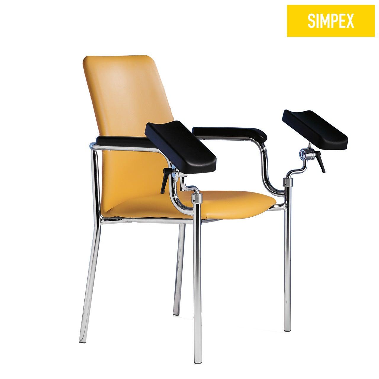 Blutentnahmestuhl Sicherheitsstuhl HAEMO-SECUR Vario mit Kunstleder in gelb (mais) und einem Gestell aus Stahl verchromt von SIMPEX