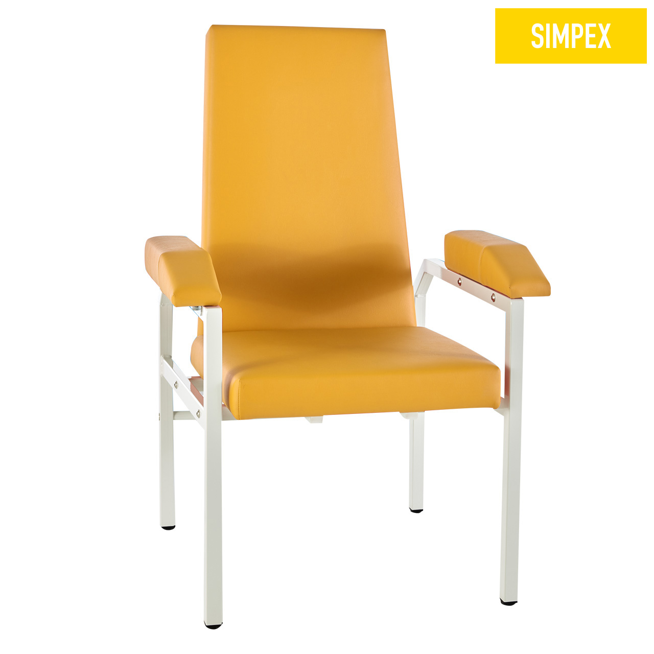 Blutentnahmestuhl Sessel HAEMO-STAT Cuneo XL mit Kunstleder in gelb (mais) und einem Gestell aus Stahl grauweiß gepulvert von SIMPEX
