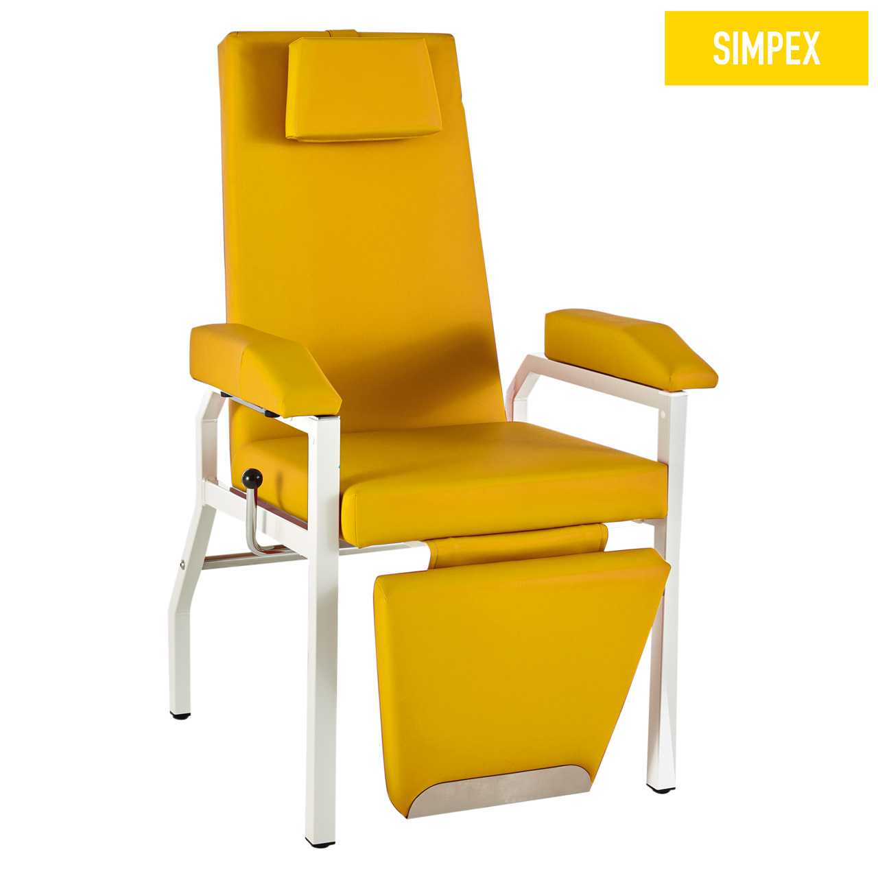 Blutentnahmestuhl Liegesessel HAEMO-FLEXA Cuneo mit Kunstleder in gelb (mais) und einem Gestell aus Stahl grauweiß gepulvert von SIMPEX