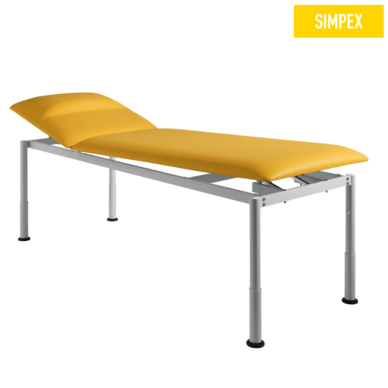 Designerliege RONDO-MED 65 Siesta mit Kunstleder in gelb (mais) und einem Gestell aus Stahl grauweiß gepulvert von SIMPEX