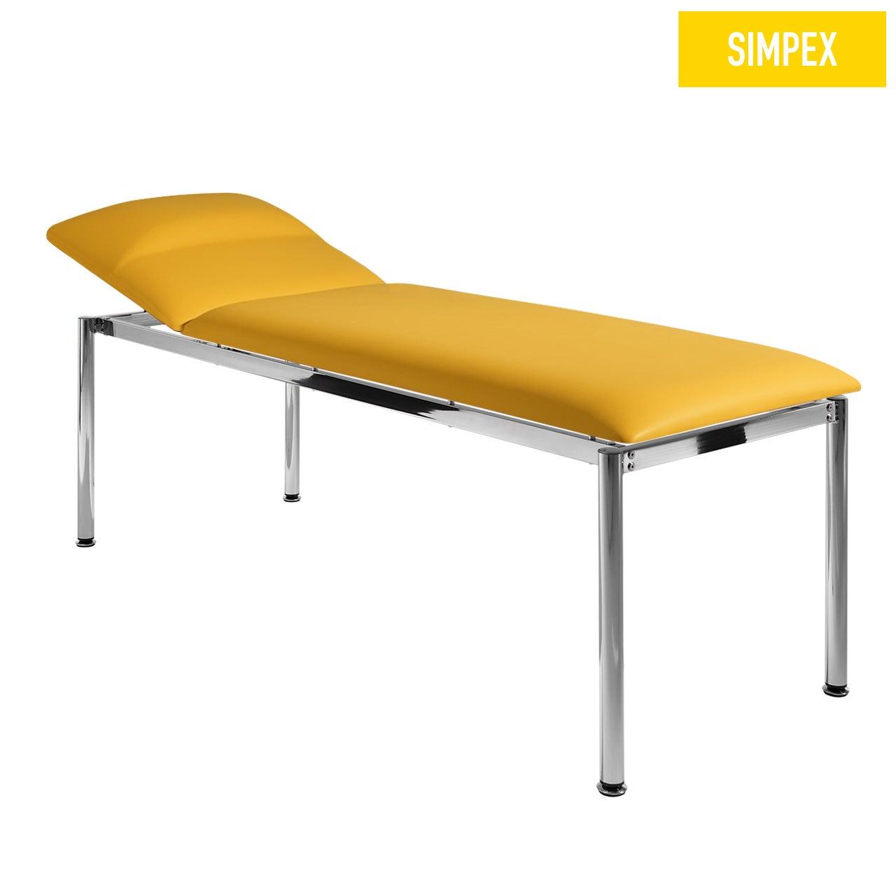 Designerliege RONDO-MED 65 Classic mit Kunstleder in gelb (mais) und einem Gestell aus Stahl verchromt von SIMPEX
