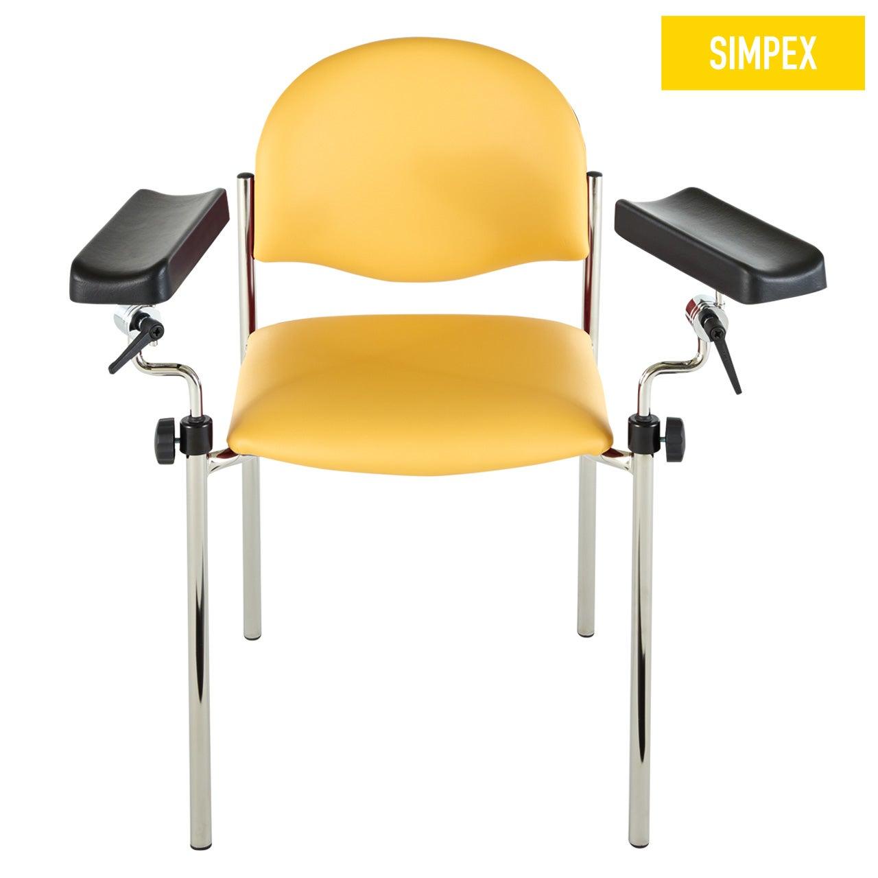 Blutentnahmestuhl Stuhl HAEMO-LINEA Vario Perfekta mit Kunstleder in gelb (mais) und einem Gestell aus Stahl verchromt von SIMPEX