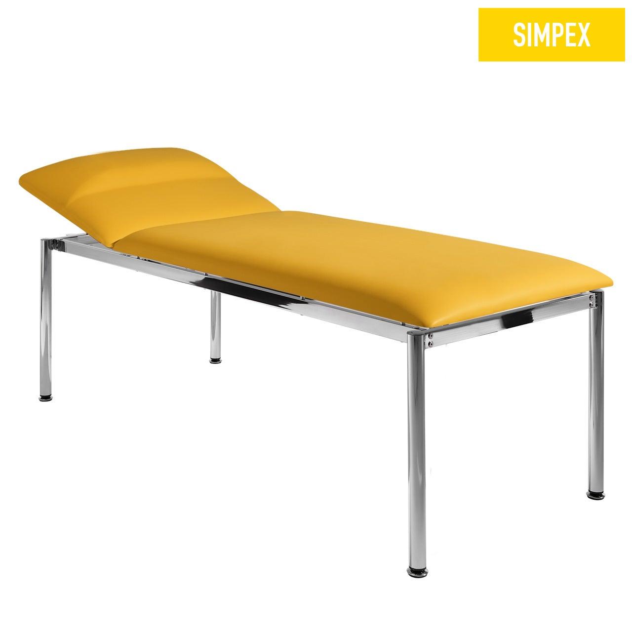 EKG-Designerliege RONDO-MED 80 Classic mit Kunstleder in gelb (mais) und einem Gestell aus Stahl verchromt von SIMPEX