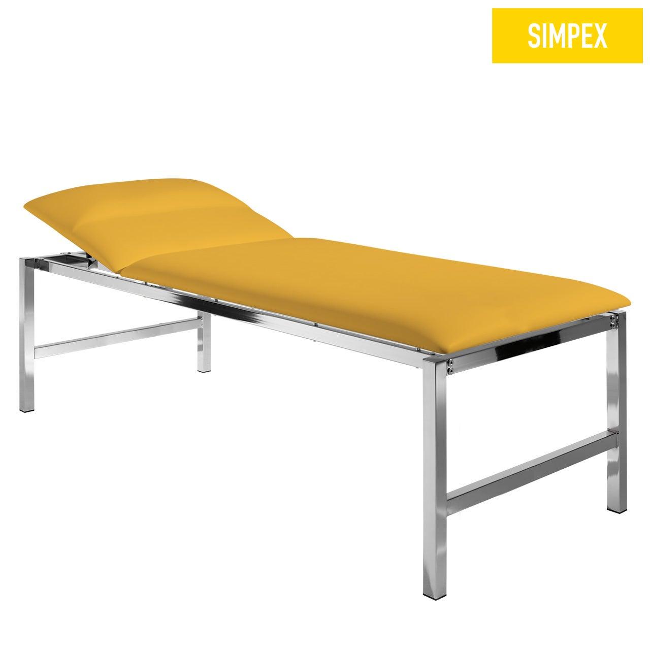 EKG-Schwerlastliege BELINDA 80 Classic XL mit Kunstleder in gelb (mais) und einem Gestell aus Stahl verchromt von SIMPEX