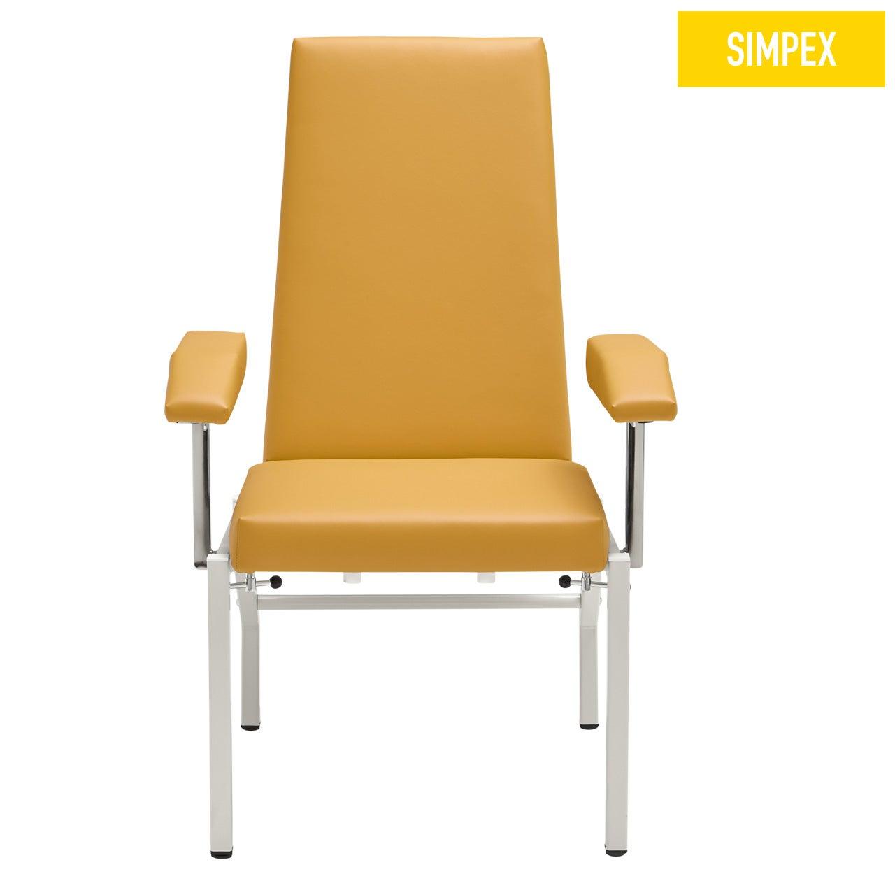 Blutentnahmestuhl Sessel HAEMO-STAT Cuneo Expander mit Kunstleder in gelb (mais) und einem Gestell aus Stahl grauweiß gepulvert von SIMPEX