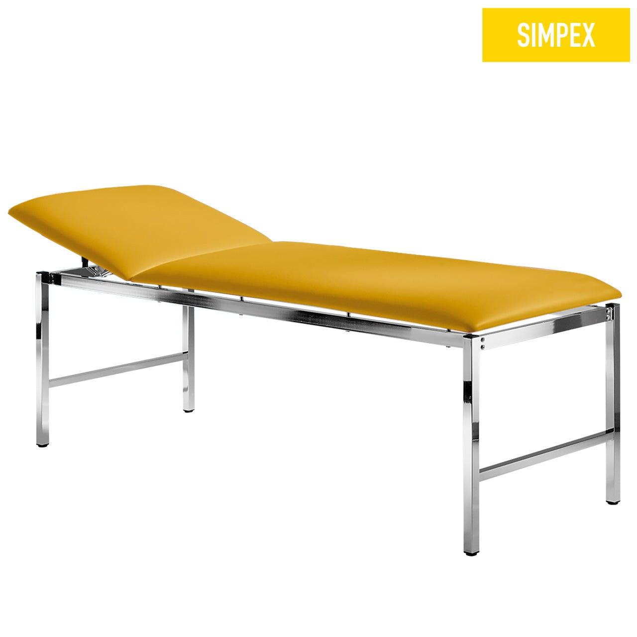 Multifunktionsliege MEDI-LUX 65 Classic mit Kunstleder in gelb (mais) und einem Gestell aus Stahl verchromt von SIMPEX