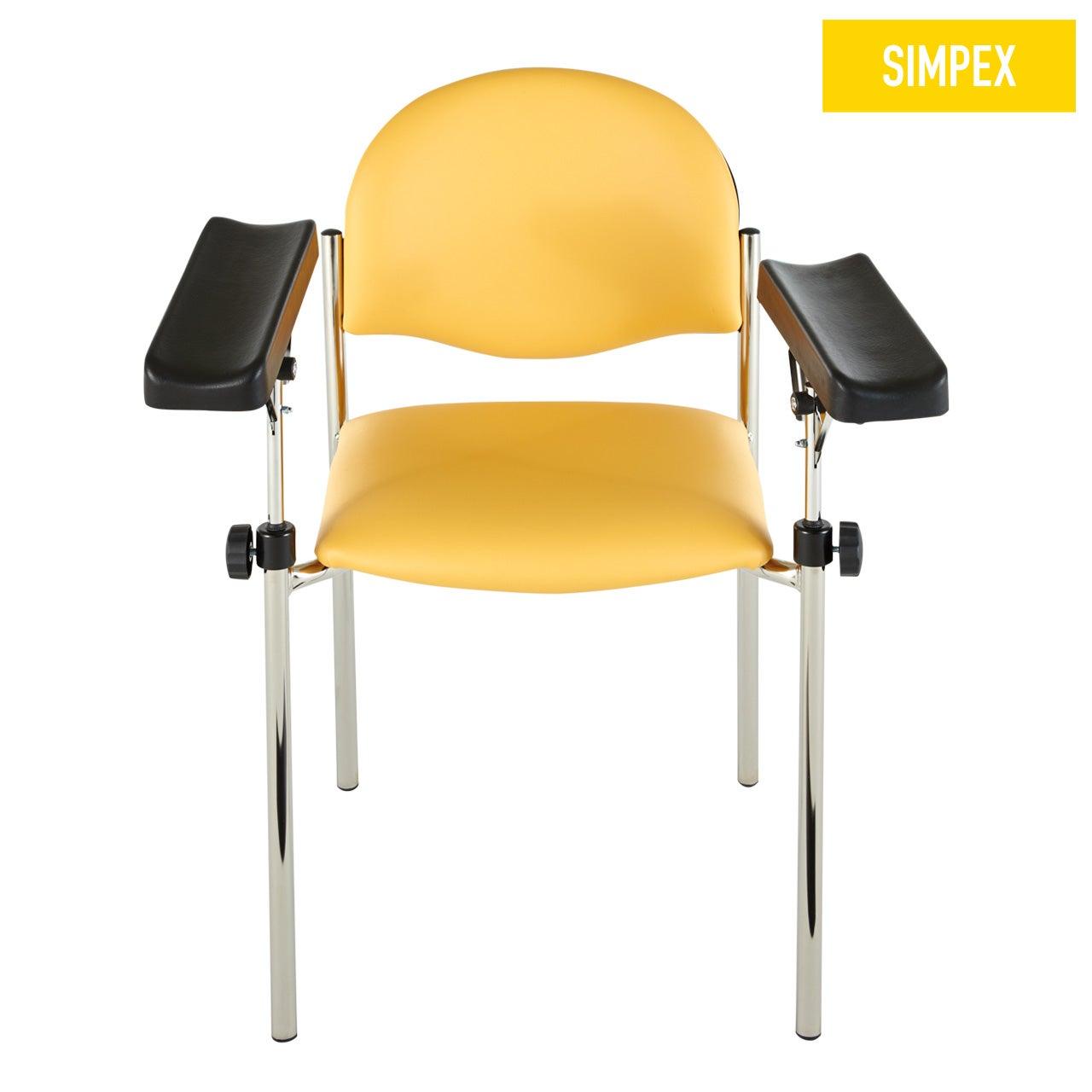 Blutentnahmestuhl Stuhl HAEMO-LINEA Vario Ecco mit Kunstleder in gelb (mais) und einem Gestell aus Stahl verchromt von SIMPEX