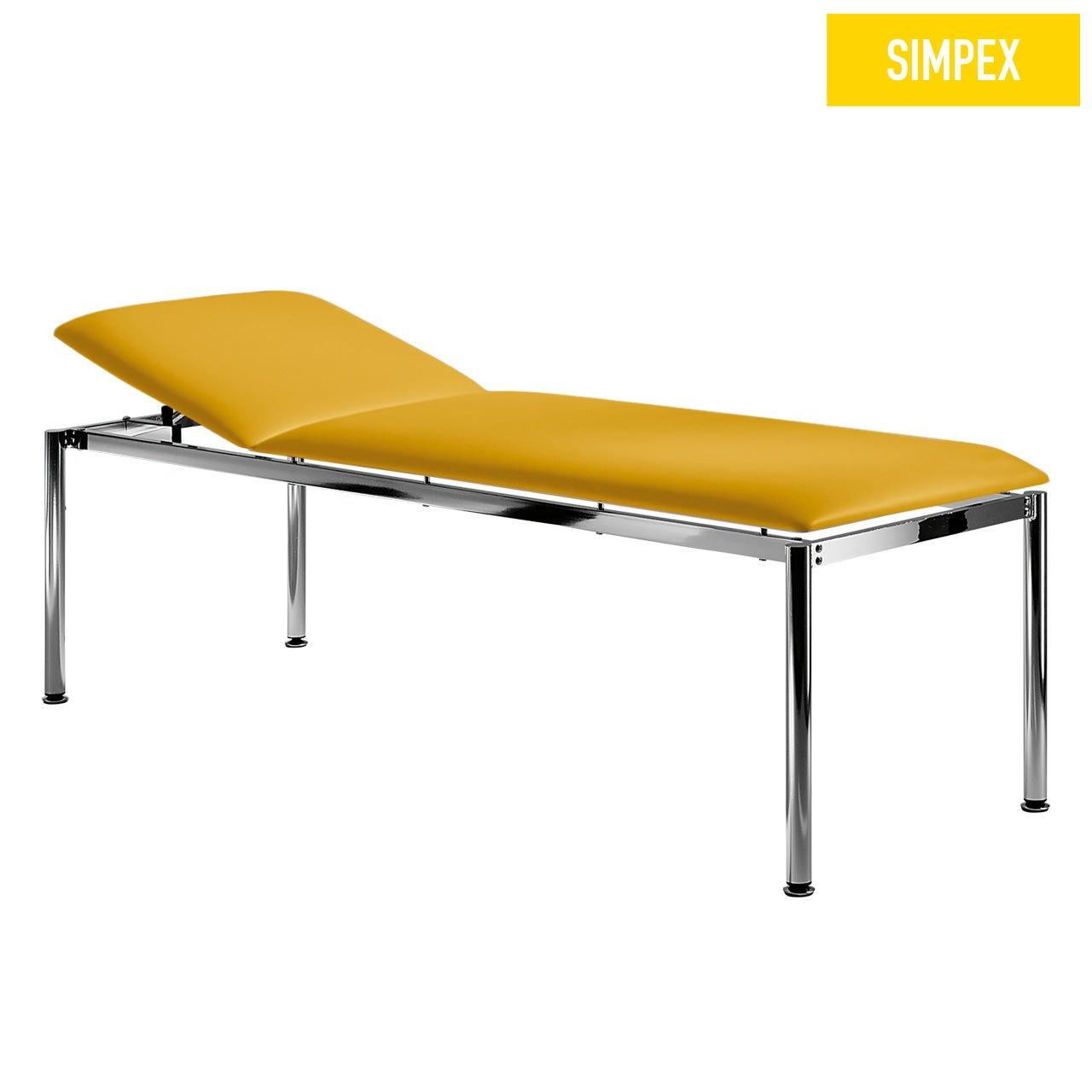 Designerliege RONDO-MED 65 Classic XL mit Kunstleder in gelb (mais) und einem Gestell aus Stahl verchromt von SIMPEX