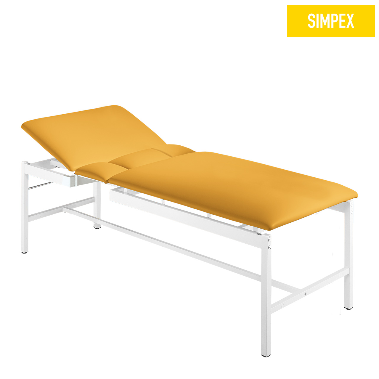 EKG-Sonographieliege VS-CARDIO 80 Cardio mit Kunstleder in gelb (mais) und einem Gestell aus Stahl verchromt von SIMPEX