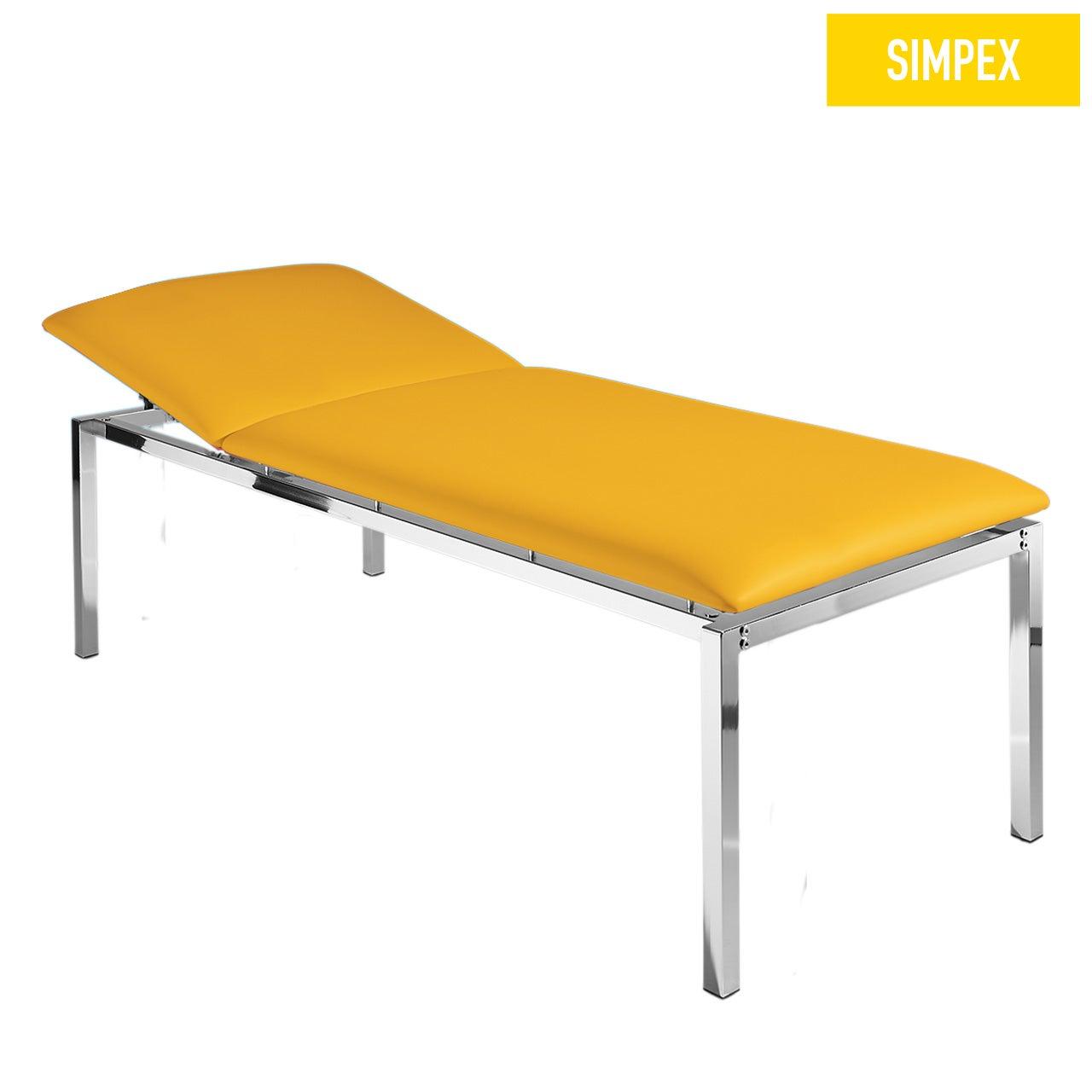 EKG-Schwerlastliege HELENA 80 Classic XL mit Kunstleder in gelb (mais) und einem Gestell aus Stahl verchromt von SIMPEX