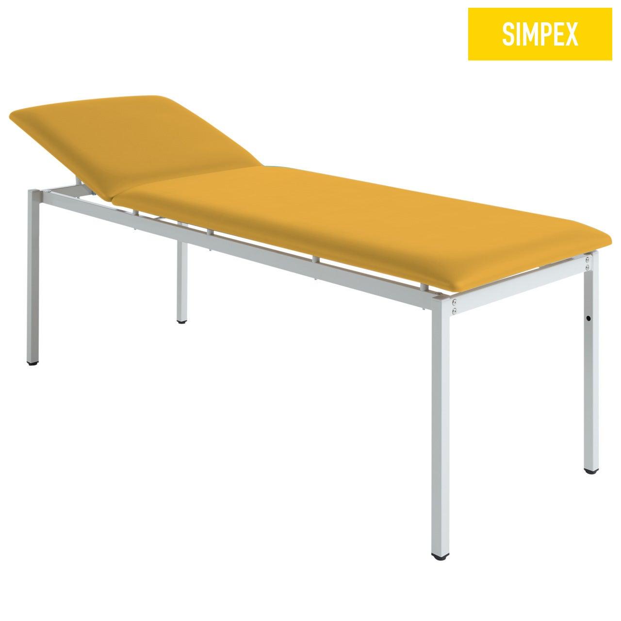 EKG-Untersuchungsliege ATTENDOS 80 Classic mit Kunstleder in gelb (mais) und einem Gestell aus Stahl grauweiß gepulvert von SIMPEX