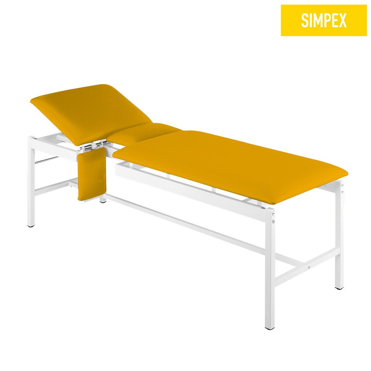 Sonographieliege VS-CARDIO 65 Cardio mit Kunstleder in gelb (mais) und einem Gestell aus Stahl grauweiß gepulvert von SIMPEX
