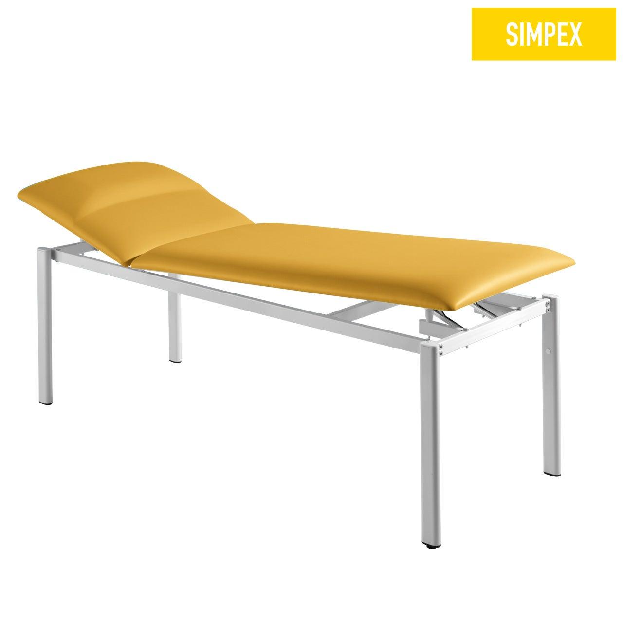 Designerliege ELLITTICA 65 Siesta mit Kunstleder in gelb (mais) und einem Gestell aus Stahl grauweiß gepulvert von SIMPEX