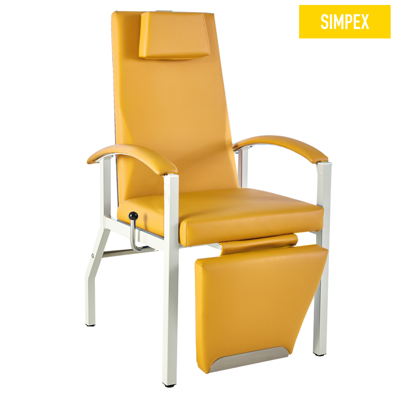 Blutentnahmestuhl Liegesessel HAEMO-FLEXA Arcus mit Kunstleder in gelb (mais) und einem Gestell aus Stahl grauweiß gepulvert von SIMPEX