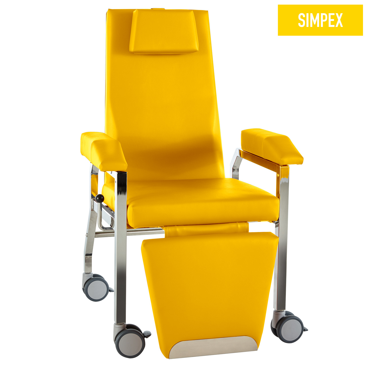 Blutentnahmestuhl Liegesessel HAEMO-FLEXA Cuneo Mobil mit Kunstleder in gelb (mais) und einem Gestell aus Stahl verchromt von SIMPEX