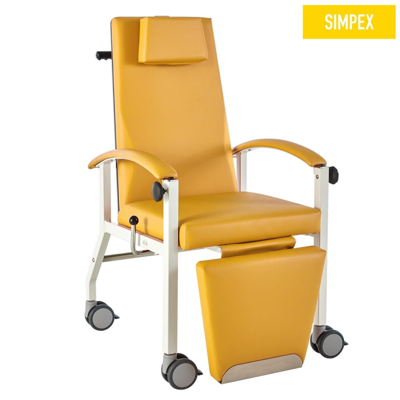 Blutentnahmestuhl Liegesessel HAEMO-FLEXA Arcus Mobil mit Kunstleder in gelb (mais) und einem Gestell aus Stahl grauweiß gepulvert von SIMPEX