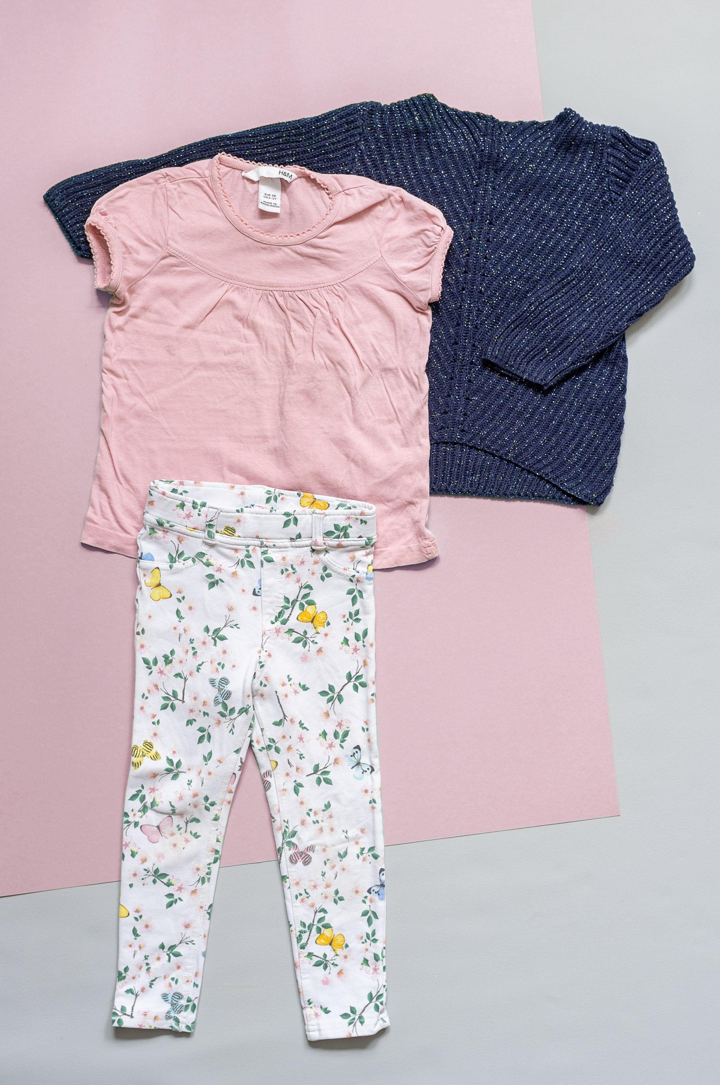 Outfit Gr. 98 für Mädchen - 3 Teile - Glitzer